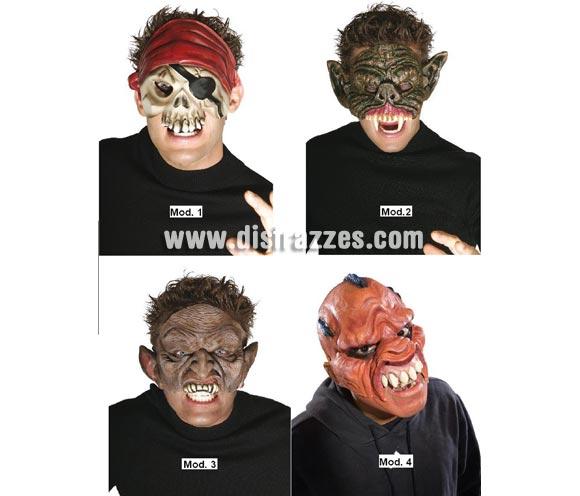 Surtido 4 máscaras de media cara terroríficas para Halloween. Cuatro modelos surtidos, precio por unidad, se venden por separado.