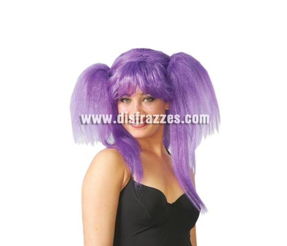 Peluca Rockera con coletas lila. También peluca de Bruja moderna.