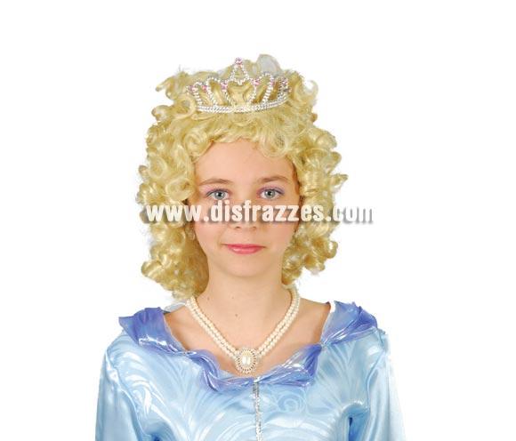 Peluca de Princesa rubia infantil con diadema incluida. Peluca de La Bella para niñas.