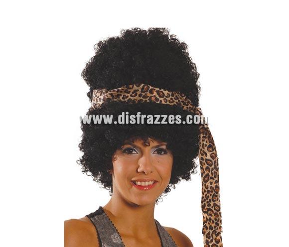 Peluca Hippie negra con cinta. También sirve como peluca de Troglodita o Cavernícola para mujer.
