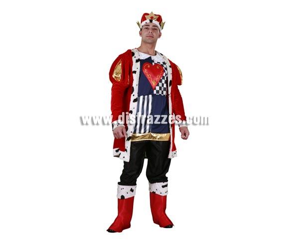 Disfraz de Rey de Corazones adulto. Talla standar M-L 52/54. Incluye sombrero, cubrebotas, abrigo, chaleco y pantalones.