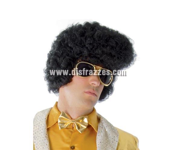 Peluca Elvis Rey del Rock negra extra.