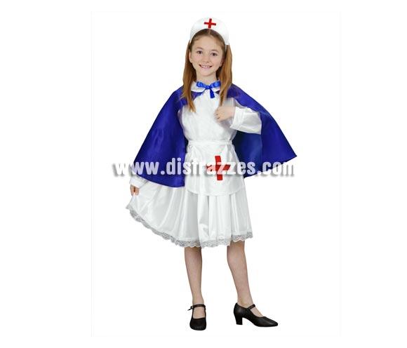 Disfraz de Enfermera infantil barato para Carnavales. Talla de 5 a 6 años. Incluye cofia, vestido, delantal y falda.