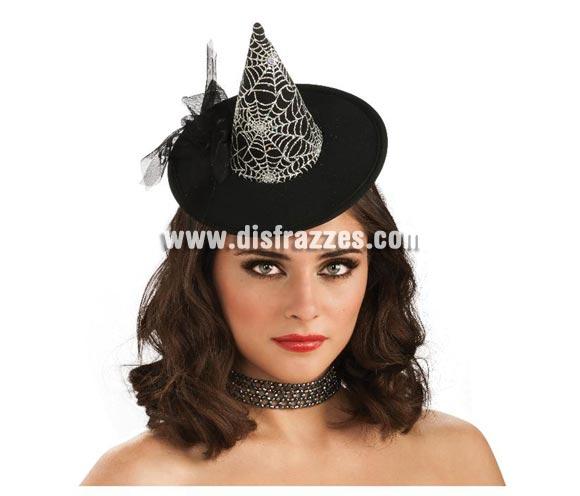 Mini sombrero de Bruja negro con telaraña para Halloween. Original sombrero de Bruja tipo tocado.