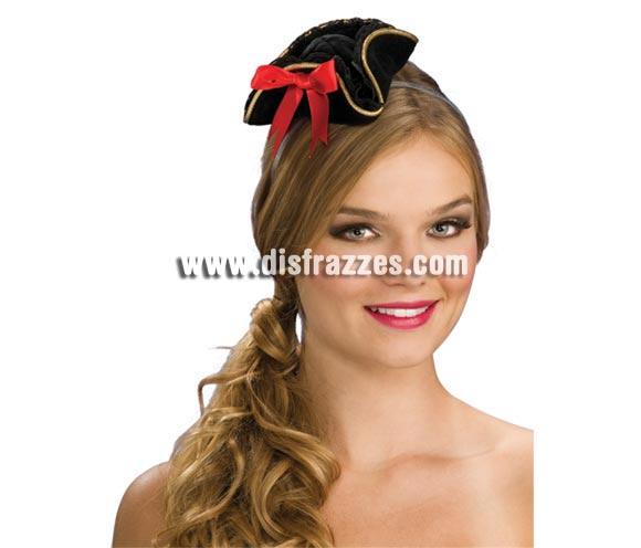 Mini sombrero Bucanera negro. Precioso sombrero de Pirata perfecto para disfrazarse diferente a las demás chicas en Carnavales o incluso para Halloween.
