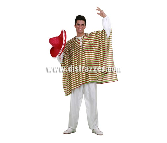 Disfraz de Mejicano para hombre. Talla standar M-L = 52/54. Incluye pantalón y poncho. Sombrero NO incluido, podrás verlo en la sección Sombreros, gorros y diademas.
