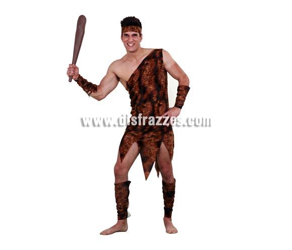 Disfraz de Troglodita adulto. Talla standar M-L 52/54. Incluye vestido, cinturón, muñequeras y tobilleras. Disfraz de Cavernícola para hombre. Maza NO incluida, podrás verla en la sección Complementos.