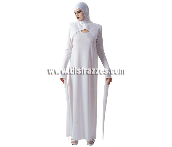 Disfraz de la Muerte Blanca para mujer. Talla Standar. Incluye vestido de una pieza con capucha, alzacuello y capa, mangas largas y estrechas.
