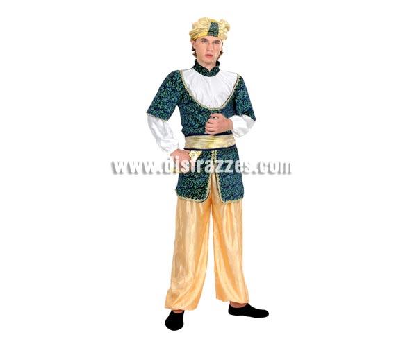 Disfraz de Paje Real o Sultán para chicos. Talla S = 48/52 para hombres delgados y adolescentes. Incluye pantalón, casaca, cinturón y turbante. También disfraz de Paje para hombre en Navidad y Reyes Magos.