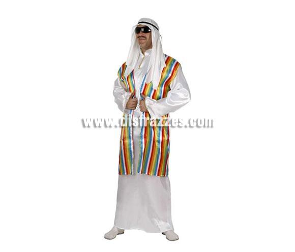 Disfraz barato de Jeque Árabe para hombre. Talla 2 ó talla Standar M-L 52/54. Incluye túnica y pañuelo. Disfraz de Moro o Musulmán adulto.