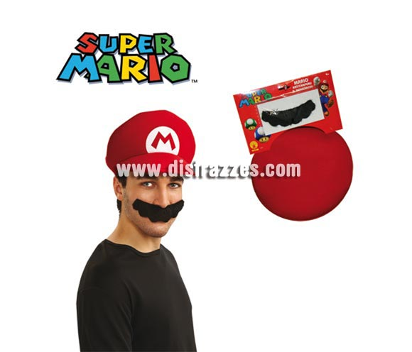 Kit de Mario Bros para adultos - Incluye sombrero y bigote.