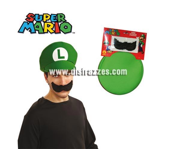 Kit de Luigi para adultos - Incluye sombrero y bigote.