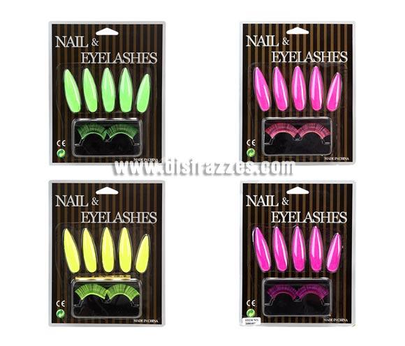 Set de Uñas y Pestañas Postizas fluorescentes. Cuatro modelos surtidos, precio por unidad, se venden por separado.