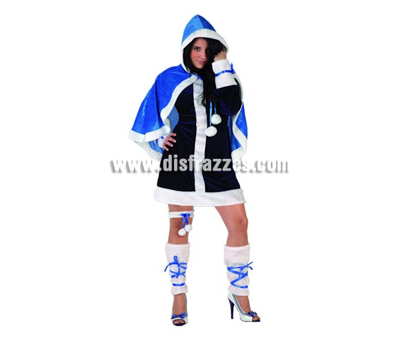 Disfraz de Esquimal para mujer. Talla 2 ó talla Standar M-L 38/42. Incluye vestido, capa, liga y cubrepiernas.