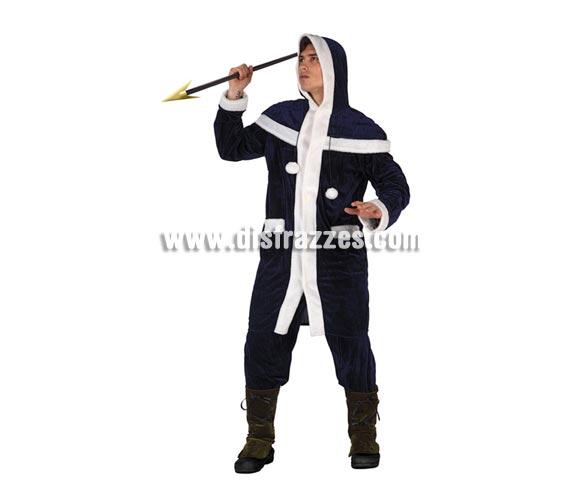 Disfraz de Esquimal para hombre. Talla 2 ó talla Standar 52/54. Incluye chaqueta, pantalón y cubrepiernas. Lanza NO incluida, podrás encontrar en nuestra sección de Complementos.