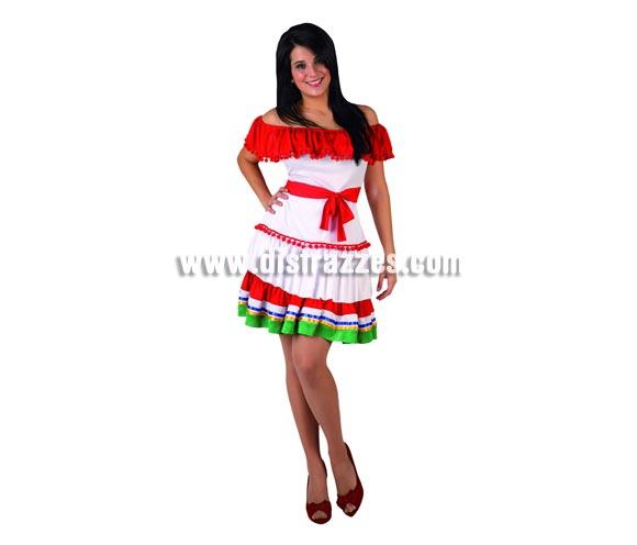 Disfraz de Mejicana sexy falda corta para mujer. Talla 2 ó talla Standar M-L 38/42. Incluye vestido.