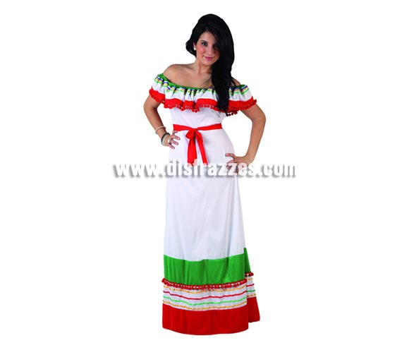 Disfraz de Mejicana para mujer. Talla 2 ó talla Standar M-L 38/42. Incluye vestido.