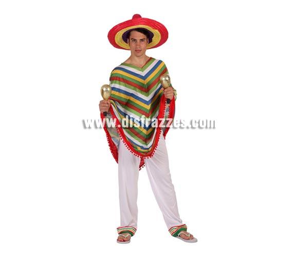 Disfraz de Mejicano para hombre. Talla 2 ó talla Standar 52/54. Incluye Poncho y pantalón. Maracas y sombrero NO incluidos, podrás encontrar en nuestra sección de Complementos.