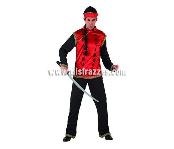 Disfraz de Chino Mandarín para hombre. Talla 3 ó talla XL 54/58. Incluye pantalón, camisa y gorro. Trenza y espada NO inlcuida, podrás encontrar en nuestra sección de Complementos.
