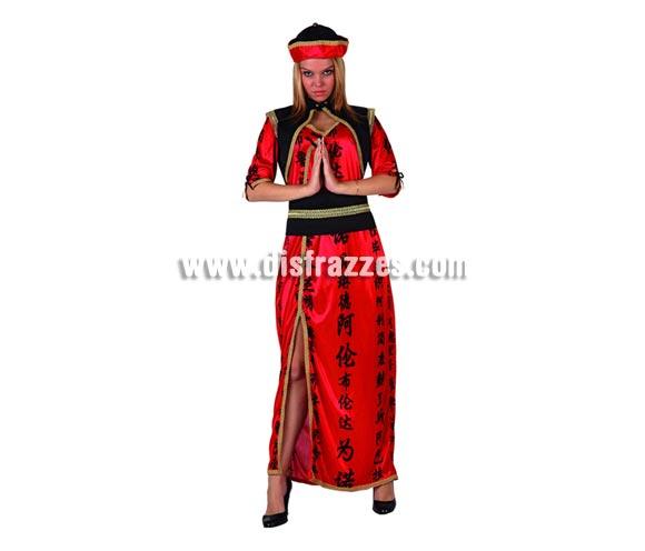 Disfraz de China con escote para mujer. Talla 2 ó talla standard M-L = 38/42. Incluye disfraz completo.
