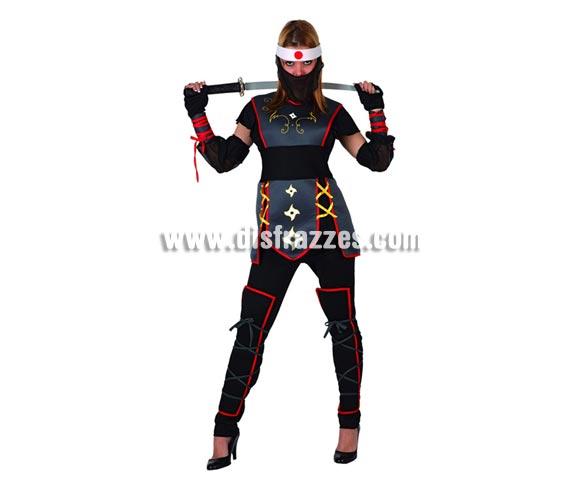 Disfraz de Guerrera Ninja sexy para mujer. Talla 2 ó talla standard M-L = 38/42. Incluye traje completo. Espada ninja NO incluida, podrás encontrar en nuestra sección de Complementos.