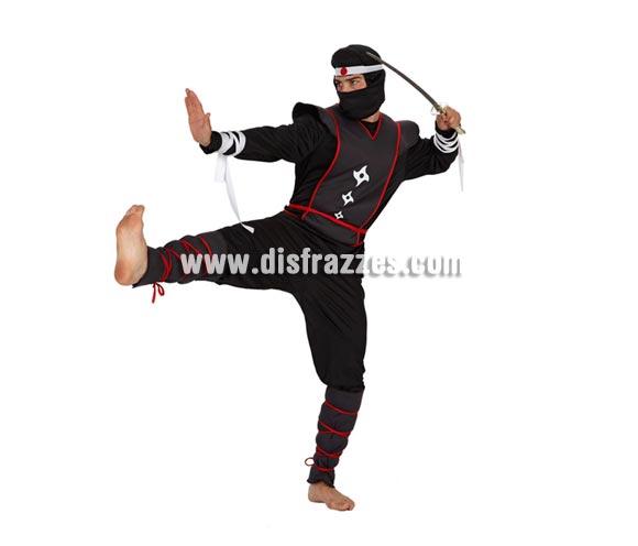 Disfraz de Guerrero Ninja para hombre. Talla 2 ó talla Standar 52/54. Incluye traje completo. Espada ninja NO incluida, podrás encontrar en nuestra sección de Complementos.