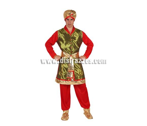 Disfraz de Hindú para hombre. Talla 2 ó talla Standar 52/54. Incluye disfraz completo. También sirve como disfraz de Paje Real de los Reyes Magos para Navidad.