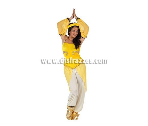 Disfraz de Princesa Árabe para mujer. Talla 2 ó talla Standar M-L 38/42. Incluye turbante, mangas, camisa con velo, pantalón y babuchas.