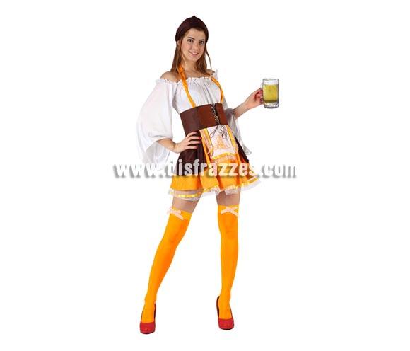 Disfraz de Tabernera Alemana sexy para mujer. Talla 2 ó talla Standar M-L 38/42. Incluye camisa, falda, delantal y cinta cabeza. Complementos No incluidos.