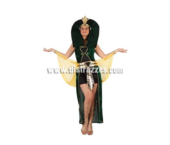 Disfraz de Egipcia Verde o Faraona para mujer. Talla 2 ó talla Standar M-L 38/42. Incluye disfraz completo.