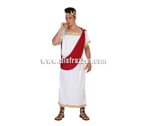 Disfraz de Emperador Romano para hombre. Talla 2 ó talla Standar 52/54. Incluye túnica, pañuelo y corona.