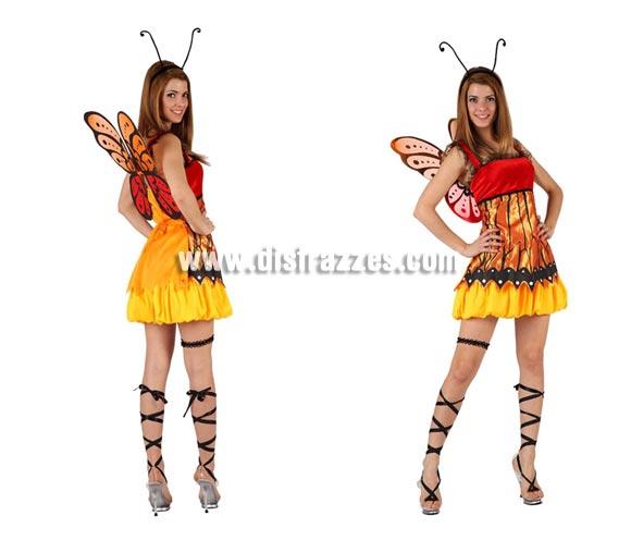 Disfraz de Mariposa sexy para mujer. Talla 2 ó talla Standar M-L 38/42. Incluye vestido, alas, antenas y liga.