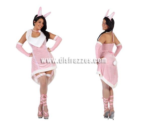 Disfraz de Conejita sexy para mujer. Talla 2 ó talla Standar M-L = 38/42. Incluye liga, vestido, collar y diadema. Perfecto para vestir a la Novia en Despedidas de Soltera.