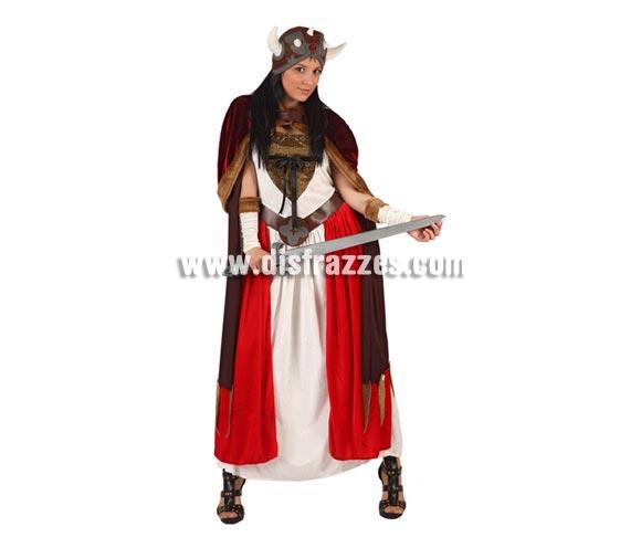Disfraz de Reina Vikinga para mujer. Talla 2 ó talla Standar M-L 38/42. Incluye vestido, capa, gorro y cubrebrazos. Espada NO incluida, podrás encontrar en nuestra sección de Complementos.