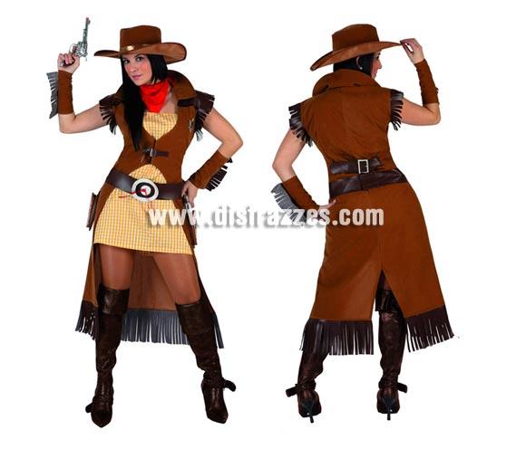 Disfraz de Pistolera o Vaquera para mujer. Talla 2 ó talla Standar M-L = 38/42. Incluye vestido, chaqueta, cinturón, pañuelo, sombrero y manguitos. Pistolas NO incluidas, podrás encontrar en nuestra sección de Complementos.