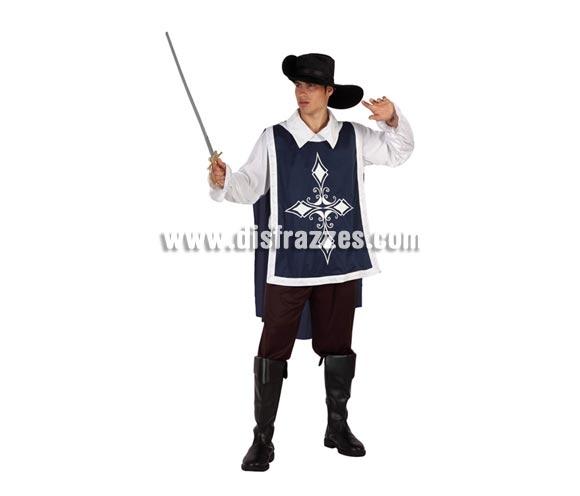 Disfraz de Mosquetero Azul para hombre. Talla 2 ó talla Standar M-L 52/54. Incluye pantalón, camisa, casaca y sombrero. Cubrebotas y espada NO incluidos, podrás encontrar en nuestra sección de Complementos.
