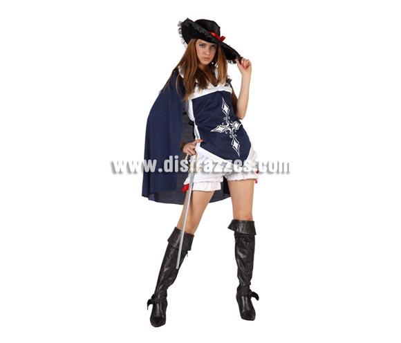 Disfraz de Mosquetera sexy azul para mujer. Talla 3 ó talla XL 44/48. Incluye pololos, camisa, capa y sombrero. Cubrebotas y espada NO inlcuidos, podrás encontrar en nuestra sección de Complementos.