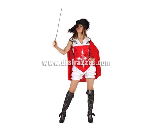 Disfraz de Mosquetera sexy rojo para mujer. Talla 3 ó talla XL 44/48. Incluye pololo, camisa con capa y sombrero. Espada y cubrebotas NO incluidos, podrás encontrarlos en nuestra sección de Complementos.