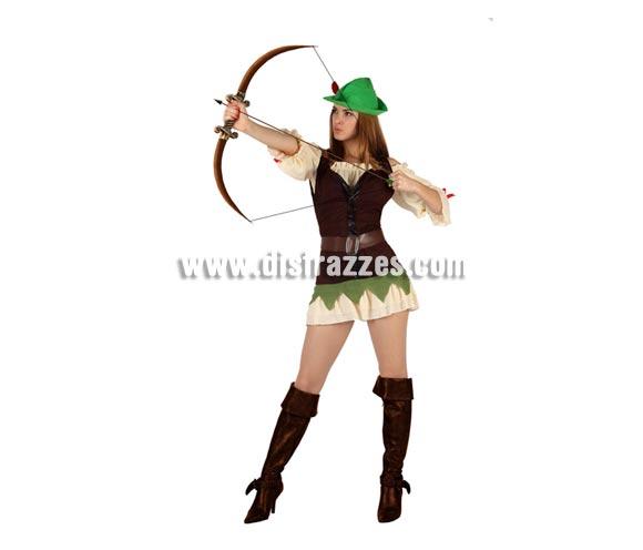 Disfraz de Chica de los Bosques sexy para mujer. Talla 2 ó talla Standar M-L 38/42. Incluye disfraz completo. Arco y cubrebotas NO incluidos, podrás encontrar en nuestra sección de Complementos. Disfraz de Robin Hood sexy para mujer.