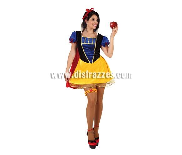 Disfraz de Princesa de las Nieves sexy para mujer. Talla 2 ó talla Standar M-L 38/42. Incluye vestido, capa, cinta de la cabeza y liga. Disfraz de Blancanieves sexy para mujer.