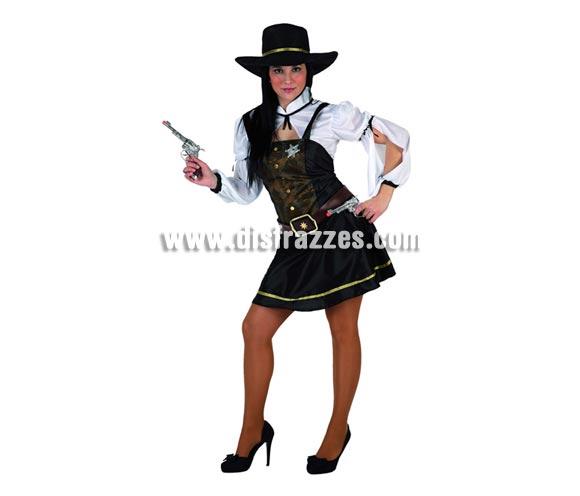 Disfraz de Sheriff para mujer. Talla 2 ó talla standar M-L 38/42. Incluye vestido, camisa, cinturón y sombrero. Pistolas NO incluidas, podrás encontrar en nuestra sección de Complementos.