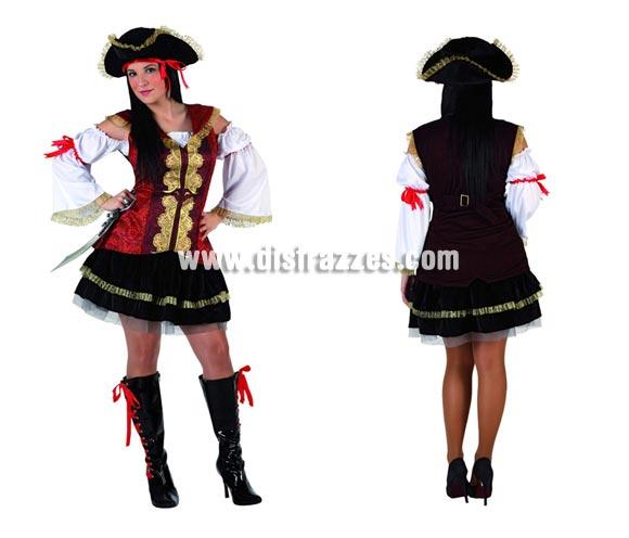 Disfraz de Pirata sexy para mujer. Talla 2 ó talla standar M-L 38/42. Incluye traje completo. Cubrebotas NO incluidos, podrás encontrar en nuestra sección de Complementos.