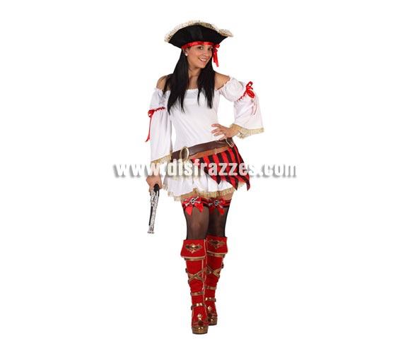 Disfraz de Pirata sexy para mujer. Talla 2 ó talla standar M-L 38/42. Incluye vestido, cinturón y sombrero. Complementos NO incluidos.