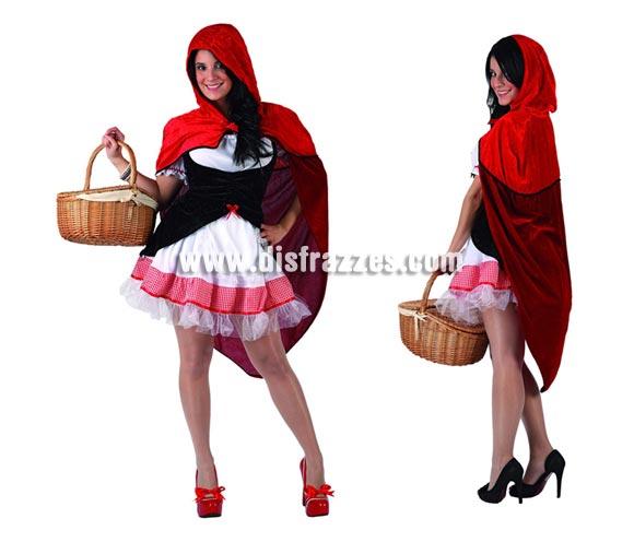 Disfraz de Caperucita Roja sexy para mujer. Talla 2 ó talla standar M-L 38/42. Incluye vestido, corpiño, delantal y capa. Cesta NO incluida.