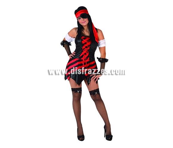 Disfraz barato de Pirata sexy para mujer. Talla 2 ó talla standar M-L 38/42. Incluye vestido, manguitos, parche y pañuelo. Mitones NO incluidos, podrás encontrar en nuestra sección de Complementos.