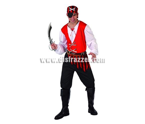Disfraz de Pirata para hombre. Talla 2 ó talla M-L 52/54. Incluye traje completo. Espada NO incluida, podrás encontrar en nuestra sección de Complementos.