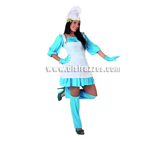 Disfraz de Enanita Azul para mujer. Talla 3 ó talla XL = 44/48. Incluye disfraz completo. Éste disfraz es perfecto si quieres salir de Pitufa o Pitufina y hacer amistad con los Pitufos.