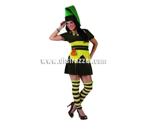 Disfraz de Duendecilla para mujer. Talla 1 ó talla S= 34/38 para chicas delgadas y adolescentes. Incluye traje completo. Disfraz de Elfa o Enanita.