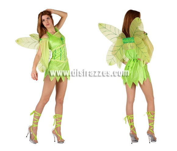 Disfraz de Hada verde sexy para mujer. Talla 2 ó talla standar M-L 38/42. Incluye disfraz completo. Cinta de las piernas NO incuidas. También podría llamarse disfraz de Campanilla sexy.