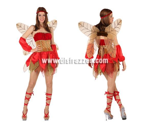Disfraz de Hada Otoño sexy para mujer. Talla 2 ó talla Standar M-L 38/42. Incluye vestido, mangas, alas y cinta de la cabeza.